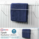 3-Pack Radiator Clothes Dryer Airer Get a pack of 3 strong and durable with 2 bars in a white plastic coating with rubber tips towels towel Rails rail Radiators Radiator racks Rack packs Pack of laundry Holders holder hangers Hanger Hang drying Dryer's dryer dry clothing clothes bars Bar airing Airers Airer Air 3pcs 3pc