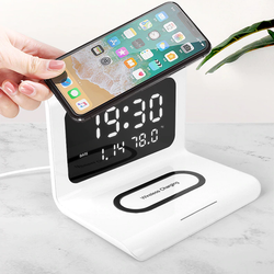 white 3-in-1 Wireless Charging Clock with Temperature features an LED display, Type-C interface and a powerful 10W wireless charging pad with wireless Three-in-One three smartphones smartphone smart phone samsungs samsung Rechargeable recharge phones one mobiles mobilephone mobile phone mobile mirror iphones iPhone in For clock's chargers charger charge alarm