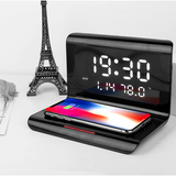 black 3-in-1 Wireless Charging Clock with Temperature features an LED display, Type-C interface and a powerful 10W wireless charging pad with wireless Three-in-One three smartphones smartphone smart phone samsungs samsung Rechargeable recharge phones one mobiles mobilephone mobile phone mobile mirror iphones iPhone in For clock's chargers charger charge alarm