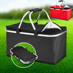 black 30L Picnic Cooler Bag Excellent value collapsible basket perfect for fishing trips and picnics lunchtime lunches lunch bag lunch Large Ice hampers hamper foods food Extra drinks drinking drink cools Cooling coolers cool down Cool Box cold drinks camps camping camp boxes Box beaches beach bags beach bag beach bags