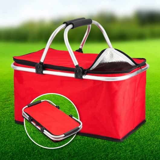 red 30L Picnic Cooler Bag Excellent value collapsible basket perfect for fishing trips and picnics lunchtime lunches lunch bag lunch Large Ice hampers hamper foods food Extra drinks drinking drink cools Cooling coolers cool down Cool Box cold drinks camps camping camp boxes Box beaches beach bags beach bag beach bags