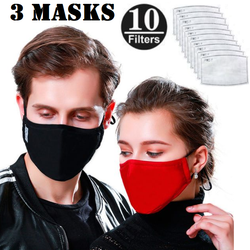 3 Washable Cotton Face Masks with 10 Filters Three in Black, Maroon, and Blue + 10 carbon filters Save a fortune by buying reusable washing washes wash Reusable protects Protectors protector protective protection protecting protect Mouth mask's Loop filter's face Ear coverup covers Coverings Covering cover 3 Mask 10Pcs 10PC 100% cotton 10-Pack