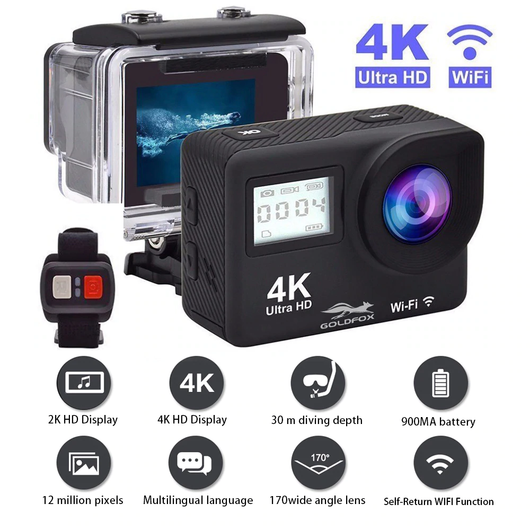 black 4K Sport Action Camera with Remote Control Capture every adventure with this Ultra 4K WIFI with WIFI waterproof water resistant videos video vid unit travel sporty sports Remote-Controlled remote control photos Photography photograph photo out Motion HD GOPRO extreme sports DIVE control compact climbing climb Cameras boys biking adventures