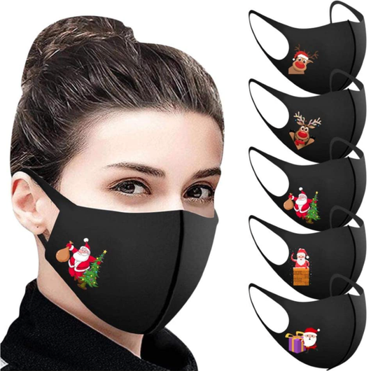 5-Pack Black Christmas Face Masks 5 different Christmas designs Washable and reusable, flexible fit; designed to protect and cover mask's Mask five Father christmas faces covid19 covid-19 covid coverup covers Coverings Covering coverage cover coronavirus corona Christmassy Christmas-Theme christmas tree christmas day 5