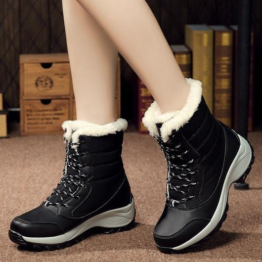 black Women's Ankle Warm Boots feet warm and dry winter weather water resistant waterproof comfortable secure fit around the calf heavy duty rubber soles womens women womans woman winter warmth warm snow shoes outdoors outdoor mums mum mother Lady ladies girlfriend girl's girl gifts gift feet fashions fashionable fashion Ankles