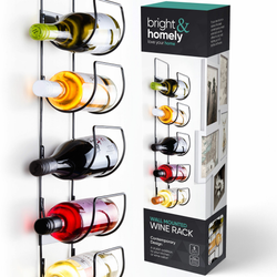 5 Bottle Wine Rack A stylish addition to your kitchen or bar area Contemporary black powder coated wines wall-mounted wall's wall Vine Storages Storage Shelf racks racking of Mounted Metal kitchens kitchen gadget kitchen accessories Holder's holder five brackets Bracket bottles bottled Black