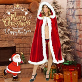 Magical Christmas Cloak festive magical fancy dress party seasonal red Santa style cape costumes Women's womens women womans woman Unique Temptation Stage Santa Romantic red party parties Magical girl gift Faux Fur Dress up costumes costume Cosplay Cloaks Cloak Christmas-Theme christmas tree christmas day Cape