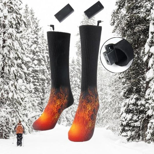 Battery Heated Thermal Socks Avoid getting cold feet this winter soft cotton comfortable integrated heat panels wintersports winters winter warm thermal socks sock outdoors outdoor-living Outdoor games outdoor activities outdoor integrated Heating Heated Foot cotton cosy comfortable cold feet battery powered battery