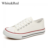 white and red American Style Canvas Sneakers Grab a pair of classic iconic design womens White wear trainers trainer timeless style Sole shoe season rubber sole red Lace jeans iconic global girls girl footwear foot flats Fitting feet fashions fashionable fashion dress designs designer design Day cotton comfortable Colour clothing classical Classic