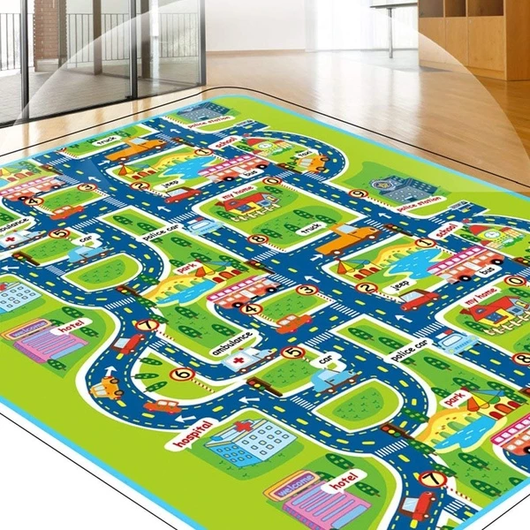 Around The Town Play-Mat Children town illustration with roads, houses, cars, buses, parks Kids love playing creatively cars travel transport toys toy town the skills skill rug plays playmats playmat playing play memory Mats mat kids house girls girl gift fun creative play Children child boys boy