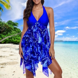 light blue Asymmetric Halter Swim-Dress Set Make the beach your catwalk fabulous flattering Features colour co-ordinated beautiful beach dress Women's women womans woman swimwear Swimsuit swimming pool Summer Blouse summer Slimming set plus size holiday hem girl Floral fashion curvy Co-Ord bust Bikinis bikini beachwear beaches 2 piece