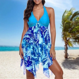 Blue Asymmetric Halter Swim-Dress Set Make the beach your catwalk fabulous flattering Features colour co-ordinated beautiful beach dress Women's women womans woman swimwear Swimsuit swimming pool Summer Blouse summer Slimming set plus size holiday hem girl Floral fashion curvy Co-Ord bust Bikinis bikini beachwear beaches 2 piece