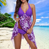 purple Asymmetric Halter Swim-Dress Set Make the beach your catwalk fabulous flattering Features colour co-ordinated beautiful beach dress Women's women womans woman swimwear Swimsuit swimming pool Summer Blouse summer Slimming set plus size holiday hem girl Floral fashion curvy Co-Ord bust Bikinis bikini beachwear beaches 2 piece