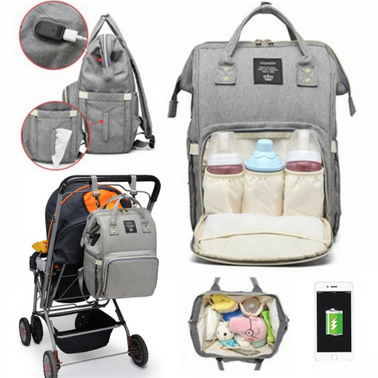 Baby Changing Bag with USB Charging Port Keep everything you need for baby with style with this multi-functional USB baby change bag travelling travel rucksacks rucksack nappy Nappies mummy maternity large kids kid for childrens Children child changing mat changing bag CHANGING changes change care bags baggage bag Backpacks Backpack baby bath Baby babies