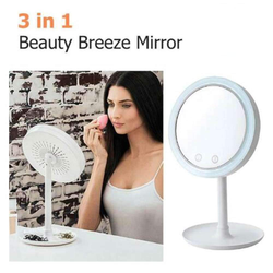 Beauty Breeze Mirror Features built-in fan helps you keep cool whilst applying your make-up women weather warm travel tan suction regime Ready party out moisture mirror's mirror mascara makeup make up magnify Light LED illuminate going out GHD foundation fashion fan eye shadow Cooling Cool breezy breeze body shop beauty beautiful