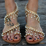 Bohemian Beaded Sandals holiday wardrobe beautiful coiled design, Women's womens women womans woman wardrobe walk vintage travel summer stylish shoes shoe Sandal's Sandal pool party Plus Size Leather jewels holiday fun footwear foot flip-flops flat feminine feet fashionista fashionable fashion comfortable Boho beads beaded bead beach