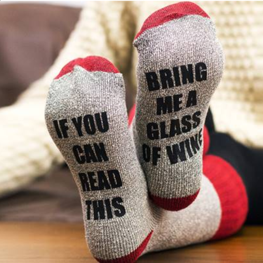 red Bring Me Wine Christmas Socks Get ready for winter with these slogan socks A funny Christmas gift for friends & family members Keep your feet toasty warm Xmas wines wine sock's sock novelty gift me gifts gift feet Day christmas Bring beers beer