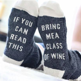 Blue Bring Me Wine Christmas Socks Get ready for winter with these slogan socks A funny Christmas gift for friends & family members Keep your feet toasty warm Xmas wines wine sock's sock novelty gift me gifts gift feet Day christmas Bring beers beer