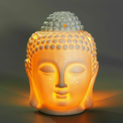 Ceramic Thai Buddha Head Oil Burner Simply put 2/3 water and some drops of Essential Oil gift UK Aromatic candles candle Candles scent Scented holder Holder's Holders night light lightup lighting lights Nightlight Light-up Light's Light Up Light teas Tea Oils Heads burn burning burns burners