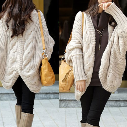 Chunky Batwing Cable Knit Cardigan