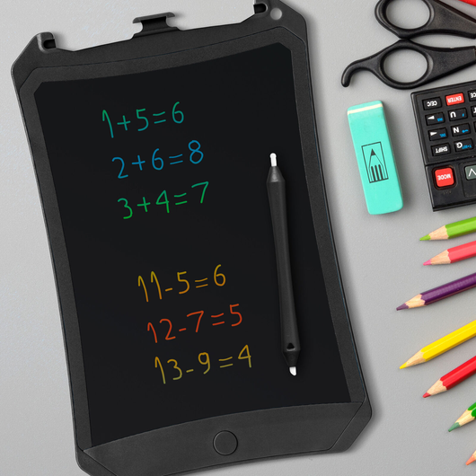 Colour LCD Writing Tablet in Black Leave notes, doodles or anything you fancy Writing writes writer write tablets tablet multi-coloured LCD display lcd kids in draws drawing Drawers Drawer draw colours Colouring colourful Coloured Colour-Changing Colour childs childrens Children child black