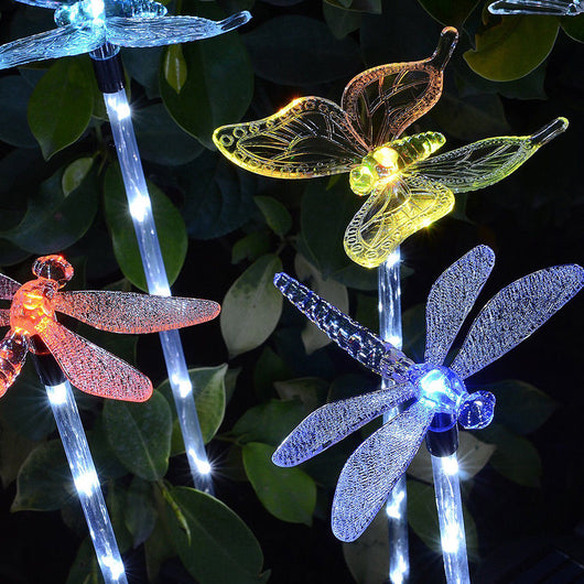 Dragonfly and Butterfly Solar LED's A stunning addition to any garden or patio Decorate your garden solarpowered solarpower solar-powered solar soil patios patio outdoors outdoor lightup lights lighting Light Up light show Light leds led display LED lawns lawn gardens garden Decorative colourful Coloured Colour-Changing Colour CHANGING