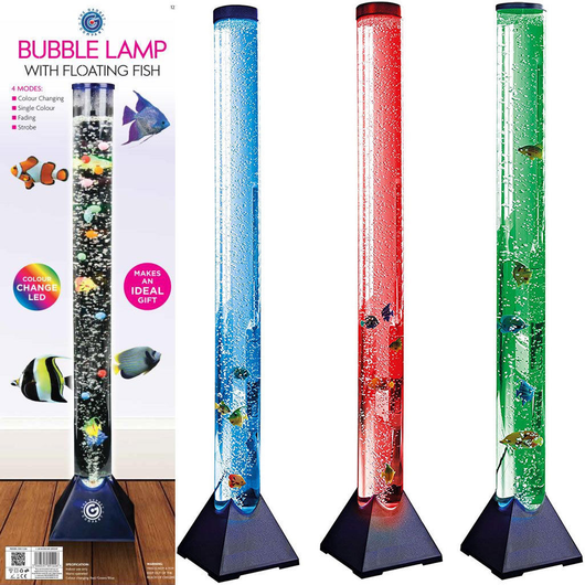 Colour LED Bubble Fish Tank aesthetic pleasure aquarium tall tubular design corner of living space bedroom Air bubbles Water tubes tube tanks Tank Light's Light large Lamp's lamp girls girl gift fishs Fishing fishes Extra colours colourful Coloured childrens Children child bubbling bubbles boys boy