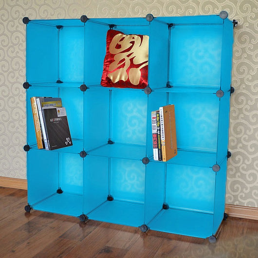 Cool Blue 9 Cube Storage Rack