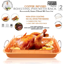 Copper Infused Roasting Pan Make the perfect roast every time carbon steel V shaped rack excess fat and juices drain away Pans Copper-Infused vegan turkey stainless steel pork oil lamb kitchen gravy fusion fat dish cuisine cooks cooking tools cook coating christmas dinner chef carbon butter beef BBC chef