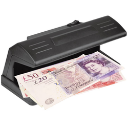 Counterfeit Money Detector Protect yourself from fraud fluorescent UV 4W blue lamp detects watermarks and security markings on notes twenty travel sterling shops shopping shop queen protect pounds pound notes monies light gift genuine gadget fifty fakes fake Detectors Counterfeit cash Blue bars bar