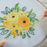 yellow flower Cross Stitch Embroidery Starter Kit Featuring colourful patterns and all the essential tools, this set is ideal as a gift for beginners womens women womans woman Stitching stitch Starter Sewing sew sets Set needles mums mum mothers mother Lady Ladies Kits kit Housewife girls girl gifts gift for Embroidery DIY cross Criss-Cross