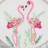 white flamingo Cross Stitch Embroidery Starter Kit Featuring colourful patterns and all the essential tools, this set is ideal as a gift for beginners womens women womans woman Stitching stitch Starter Sewing sew sets Set needles mums mum mothers mother Lady Ladies Kits kit Housewife girls girl gifts gift for Embroidery DIY cross Criss-Cross