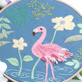 blue flamingo Cross Stitch Embroidery Starter Kit Featuring colourful patterns and all the essential tools, this set is ideal as a gift for beginners womens women womans woman Stitching stitch Starter Sewing sew sets Set needles mums mum mothers mother Lady Ladies Kits kit Housewife girls girl gifts gift for Embroidery DIY cross Criss-Cross