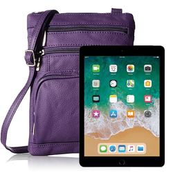 purple iPad Shoulder Bag with RFID Technology Carry securely cross body contactless payments popular protect yourself radio frequency identification blocker chip with wallet theft straps shoulders readers purse portable pockets ipads identity handbags handbag fashionable clothes case cards Bag's bag apple across