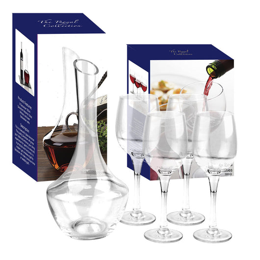 Crystal Glass Decanter & 4 Red Wine Glasses