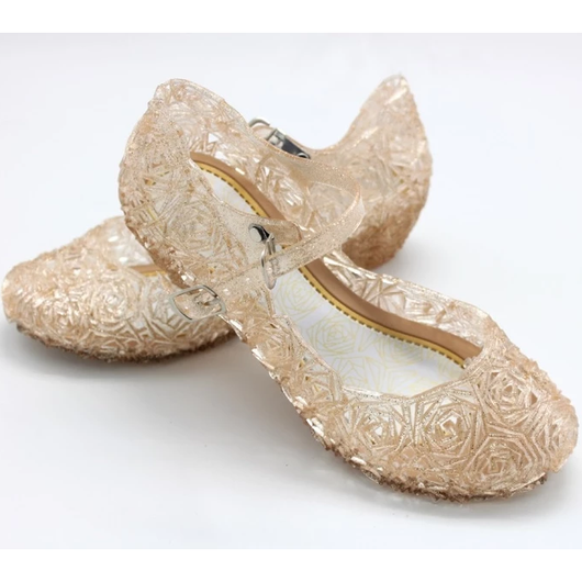gold Crystal Princess Shoes Little Elsa fans sparkling beautiful gel complete any frozen outfit dressing up & character costume play women sparkle snowy snow princesses plays party olaf mum kids ice girls girl gift fun frozen2 frozen fancy dress elsa dresses dress-up dress disney crystal costumes cosplay clothing anna