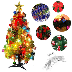 Desk LED Christmas Tree festive decoration 20 LED lights twinkle warm white no wires, battery operated desktop desks xmas wireless wire twnkle twinkle trees tree small shade placement pine cone pine petite lights lighting house Home green glow gift Decoration's Christmassy Christmas-Theme