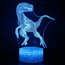 Dinosaur 3D Illusion LED Lamps Go Jurassic Perfect for children's bedrooms tyrannosaurus rex ferocious velociraptor world USB t rex roar remote raptor lights lighting light LED lamp illusion Home gift dinosaurs dino control colours claw carnivore boys boy batteries 3D