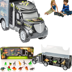Dinosaur Truck Carry Case compartment for dinosaurs convenient carry handle for children with twelve trucks Truck toys toy presents present lorrys lorry lorries kids kid girls gift Figures dinosaurs dinosaur dino christmas childrens children child cases Case Carry boys boy 12