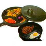 Divider Non-Stick Frying Pan Set prepare multiple meals at the same time, two pans and a ventilated lid Skillet sets Set pans Pan Lid kitchens kitchen gadget kitchen accessories healthy fryup fry dividing divides Divided divid cooking tools cooking cookery cookers cooker cook chefs cheffing chef breakfasts breakfast