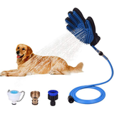 Dog Scrub Shower Glove pet grooming glove massages, cleans pets tools Tool sprays spraying spraygun Sprayer's Sprayer Spray Gun showers showering Showerhead pipes pipe pets pet owner pet care outdoors outdoor multi-tool hoses Hosepipe hose gardens garden For dogs Brushes brush bathtime baths bathing bath Attachments Attachment 2-in-1