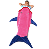 pink Shark Tail Blanket pretend have been eaten by a shark, quirky gift warm and cosy warmth warm tails Tail Soft Sofa sleeping sleep sharks mermaids Mermaid kids girls girl gift fun Flannel Costumes costume Children child boys boy blankets Blanket bags Bag