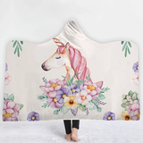 white flower Unicorn Hooded Blanket warm and cosy winter nights the ideal Christmas present for children warmth warm Unicorns throw fleece Sofa Plush kids hoody hoodies Hoodie hooded hood Gift Fluffy fleece christmas childs childrens Children child blankets Blanket Adults