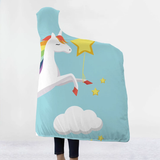 Unicorn Hooded Blanket warm and cosy winter nights the ideal Christmas present for children warmth warm Unicorns throw fleece Sofa Plush kids hoody hoodies Hoodie hooded hood Gift Fluffy fleece christmas childs childrens Children child blankets Blanket Adults