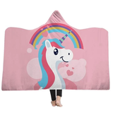 pink rainbow Unicorn Hooded Blanket warm and cosy winter nights the ideal Christmas present for children warmth warm Unicorns throw fleece Sofa Plush kids hoody hoodies Hoodie hooded hood Gift Fluffy fleece christmas childs childrens Children child blankets Blanket Adults