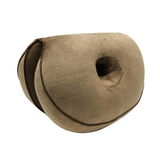 brown Dual Memory Foam Hip Cushion comfort hip cushion The double doughnut shape fits your body perfectly relieving sciatica pains, easing pregnancy discomfort toggle tailbone supports supportive support stress strains spine soft sitting relief pressure pregnant plush pain relief memory material Home hips hip gift foam discomfort correct chair