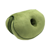 green Dual Memory Foam Hip Cushion comfort hip cushion The double doughnut shape fits your body perfectly relieving sciatica pains, easing pregnancy discomfort toggle tailbone supports supportive support stress strains spine soft sitting relief pressure pregnant plush pain relief memory material Home hips hip gift foam discomfort correct chair