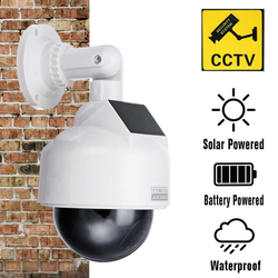 Dummy Surveillance Solar Security Camera presence security around your home realistic dummy security camera LED light monitoring camera dome shaped wall solar-powered snow secures secure screws replica rain porch OAP LED Light house Home high guard garden garage eye dummy digital deterrent Cameras