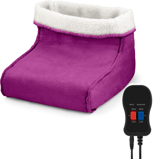 Purple Foot Warmer and Massager your feet are kept snug and warm relaxing massage soft, removable fleece lining Warmer Suede RELAXING relaxes relaxed relax massager's massager Heating Heaters Heater Heated Heat foot fleece feet electricals electrical electric's electric comfortable comfort