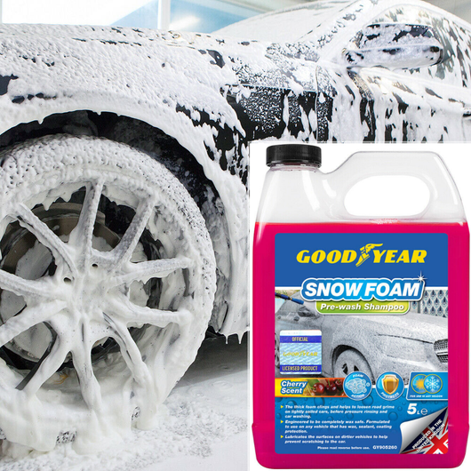 Goodyear 5L Snow Foam Pre-Wash Shampoo Genuine premium made in the UK - pH neutral 100% safe for all car paints cherry scented fragrance waxing wax washs washing washes washed WASHABLE wash Soap snowy Snowing Shampoo's scented Scent pH Neutral Litre Kits kit Good Foaming carwashes carwash cars caravans caravan car wash car park